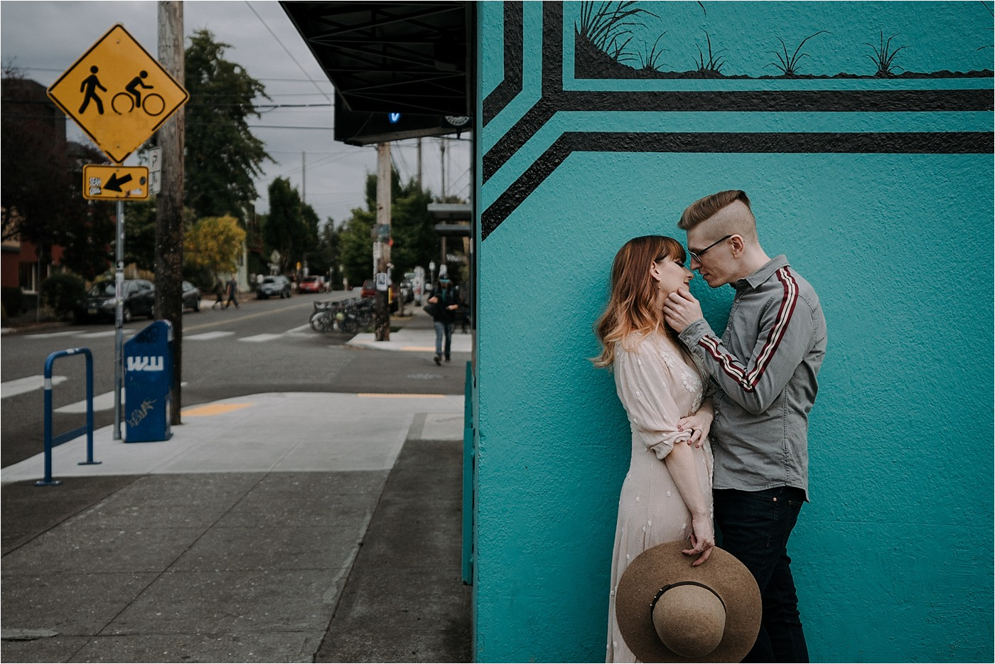 Couple on an engagement session in downtown Portland