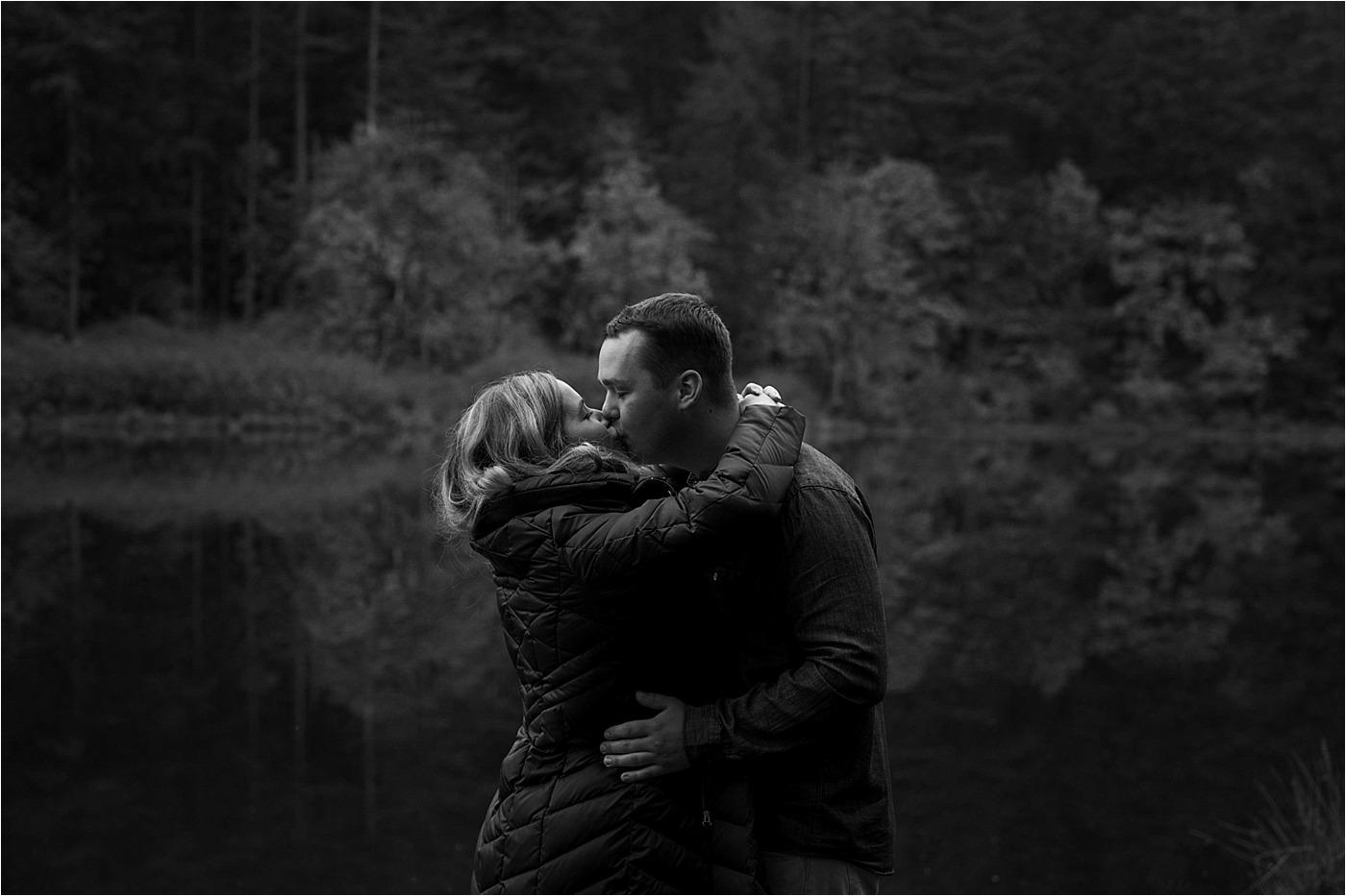 couple kissing during camas Washington engagement session
