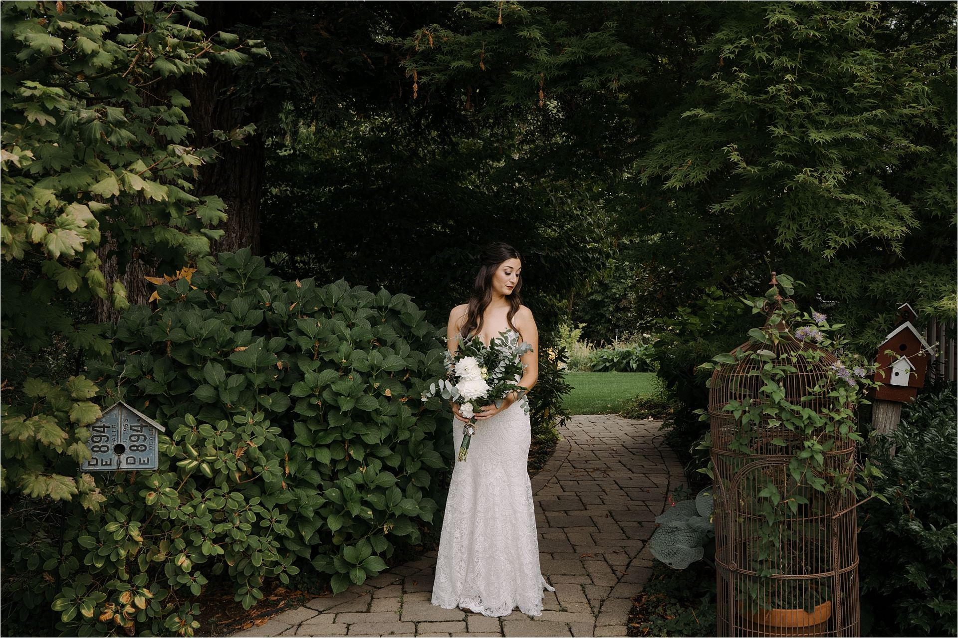 Bridal Portait before ceremony at Lucy's Garden in Ridgefield Washington