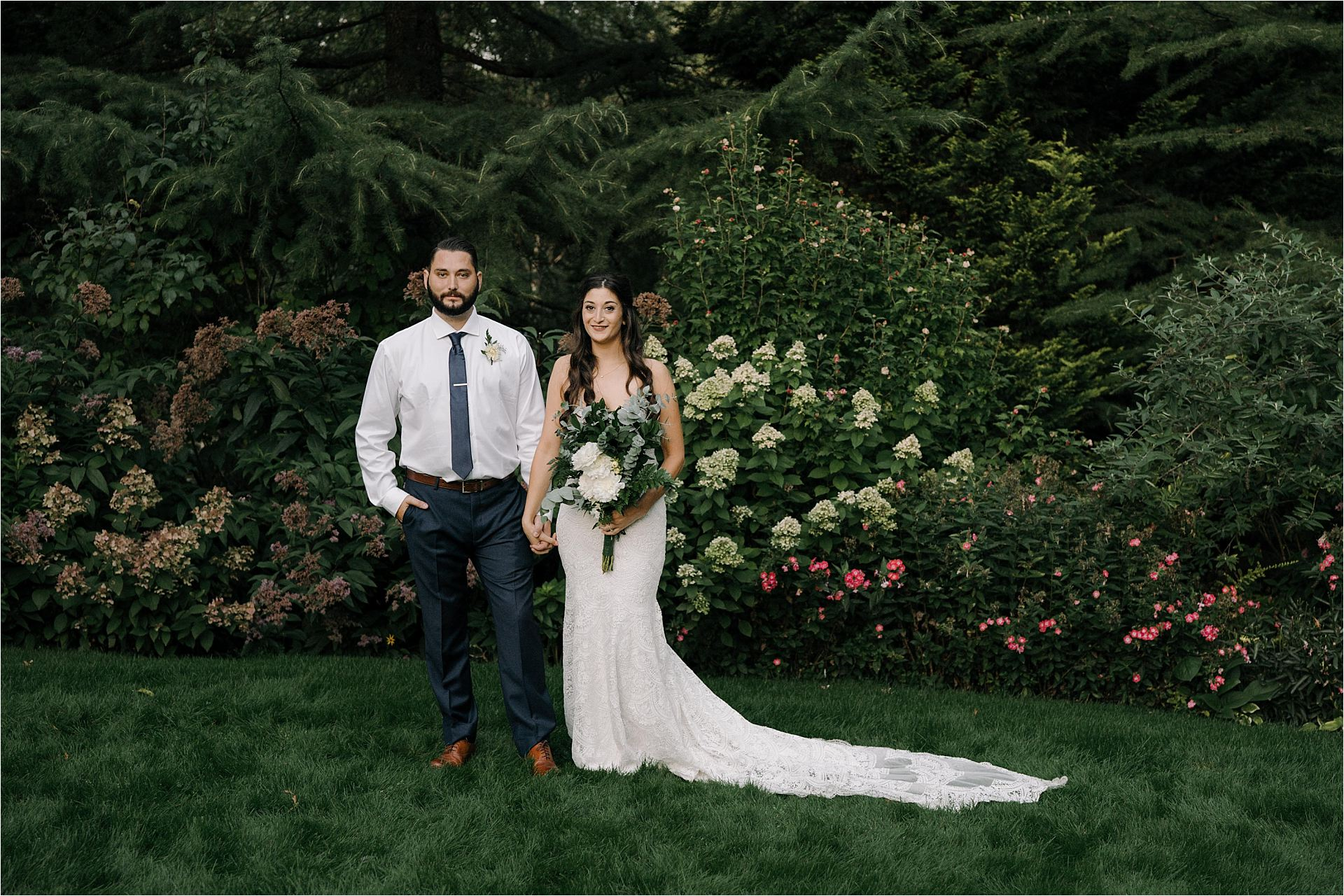 Bride and groom Portraits at Lucy's Garden after ceremony