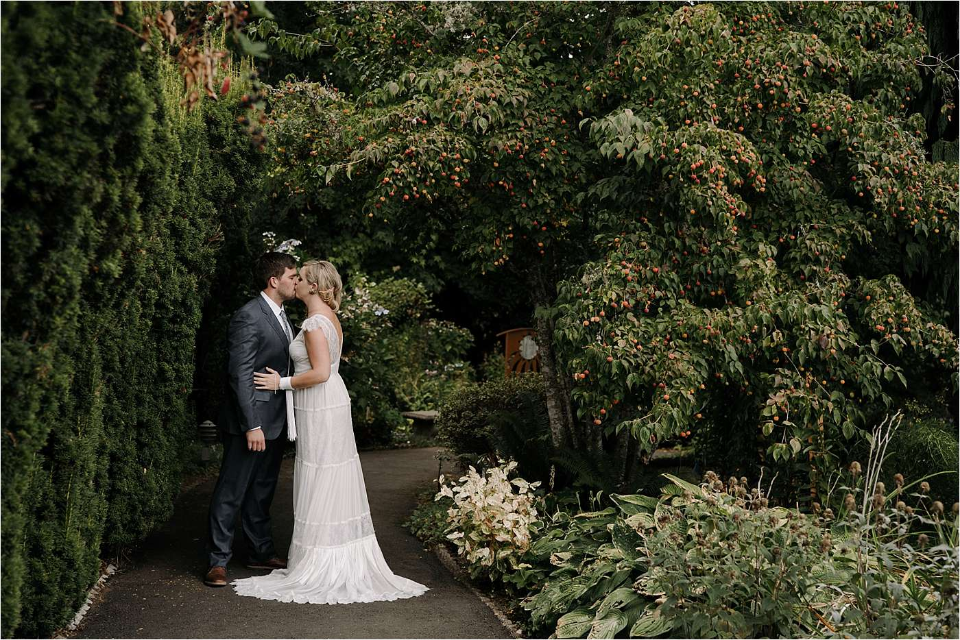 couple having first look during sandy Oregon elopement