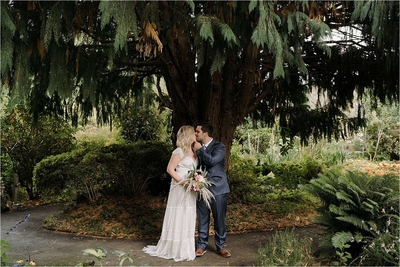 Couple after first look in Sandy Oregon elopement