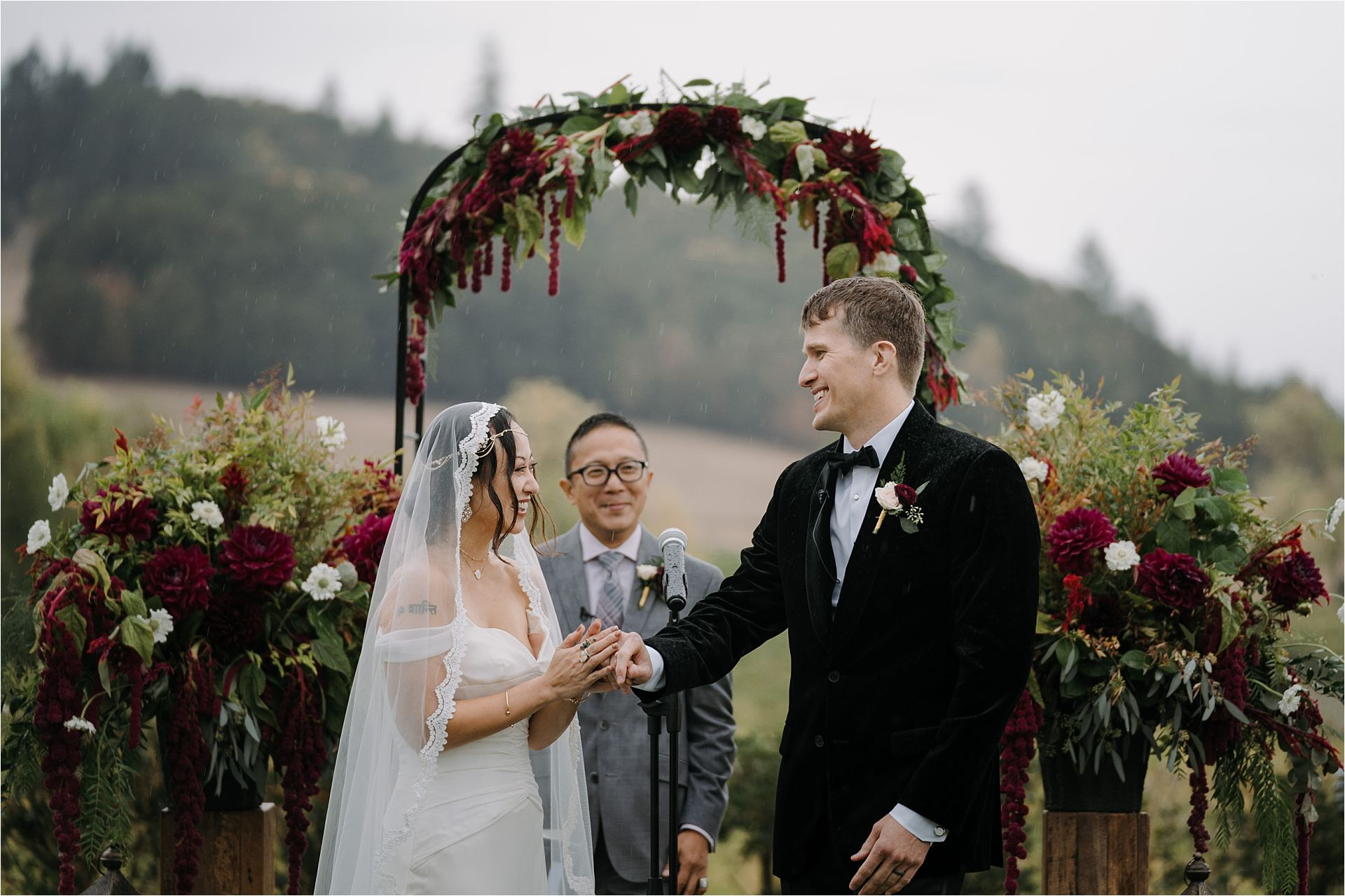 Bride and groom laughing during zenith vineyard wedding