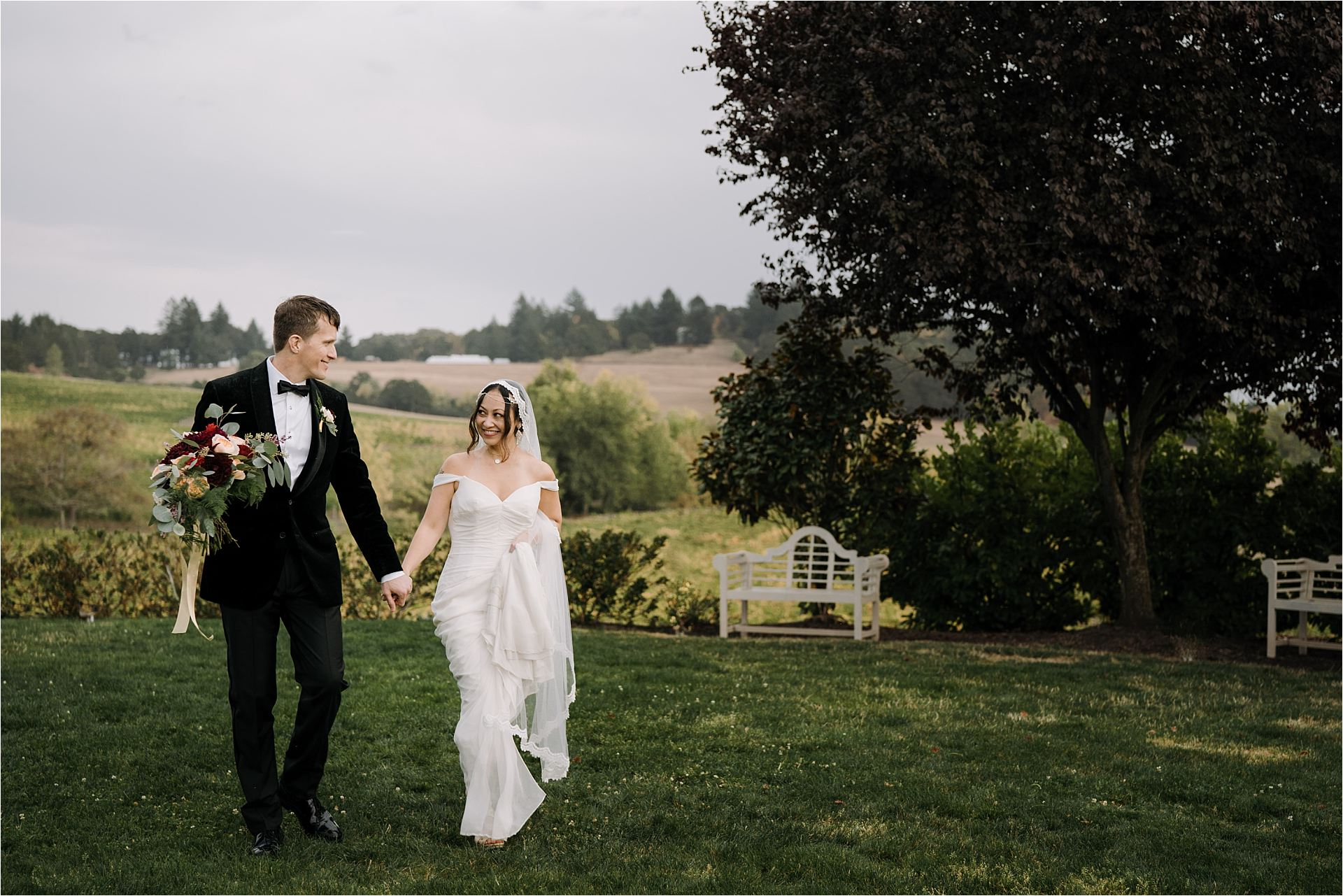 Bride and groom after the ceremony during zenith vineyard wedding