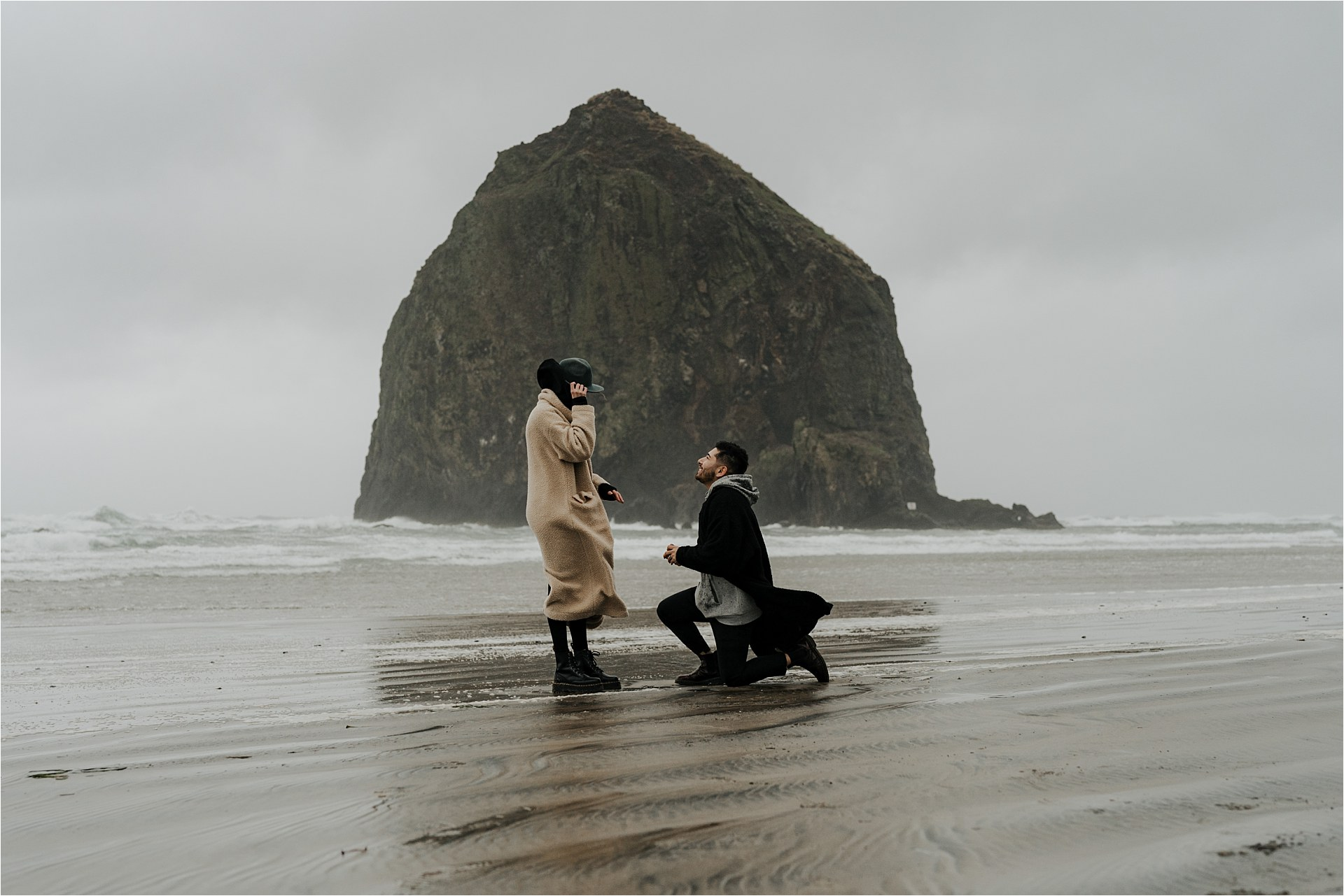Cannon Beach | Haystack Rock | Surprise Proposal | Paige+Alonso