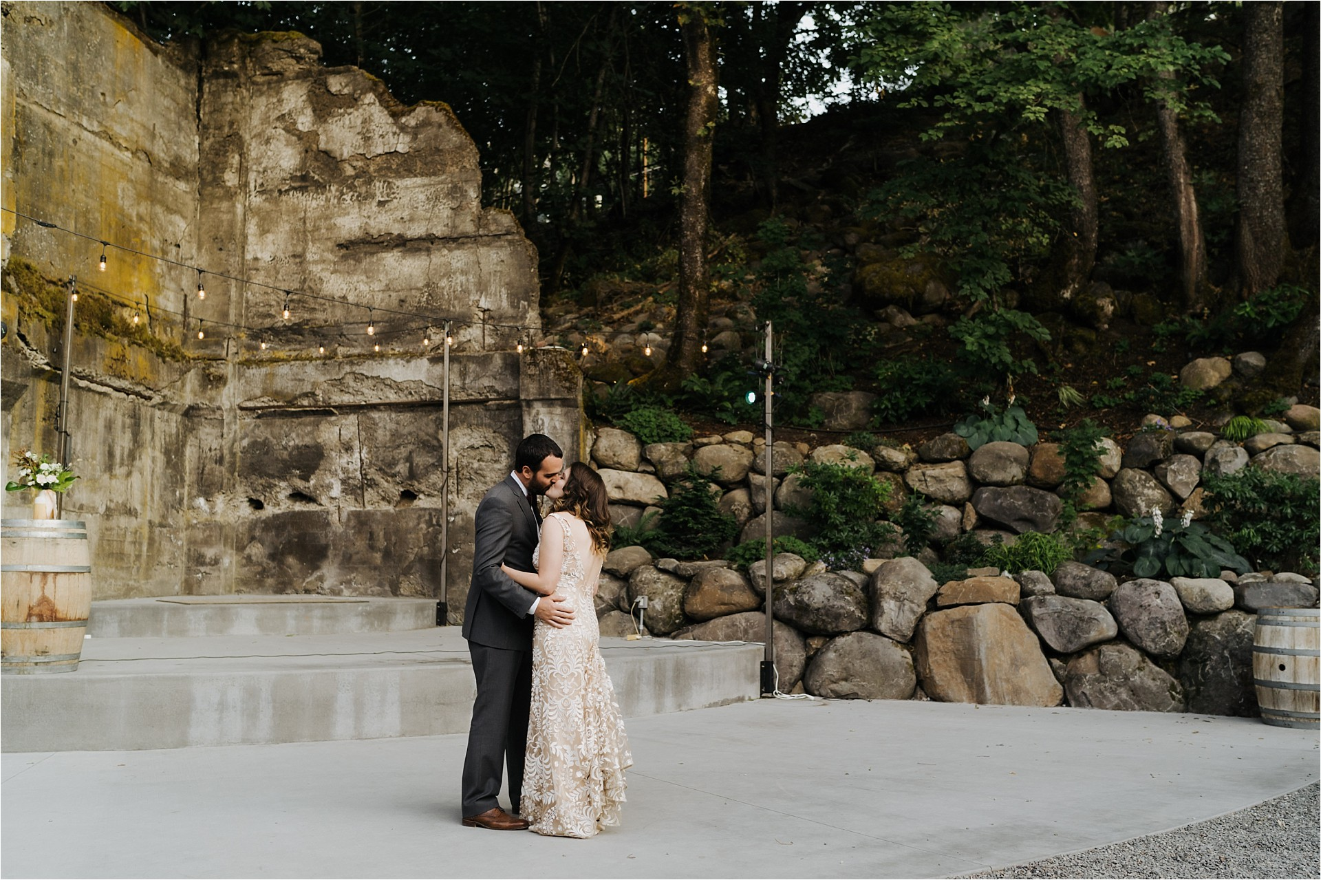 Bride and groom sharing first dance at The Ruins wedding