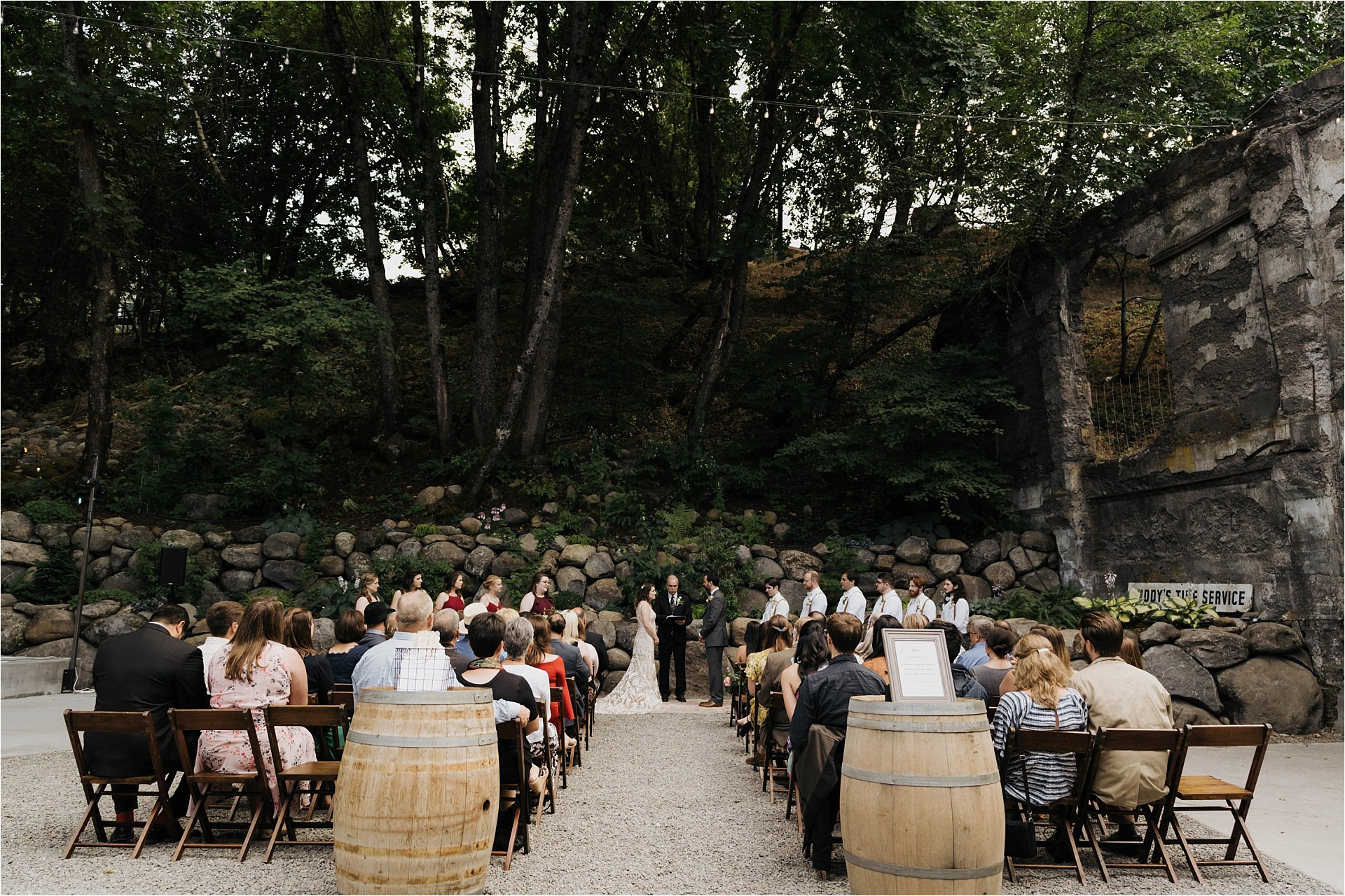 beautiful ceremony at the ruins wedding