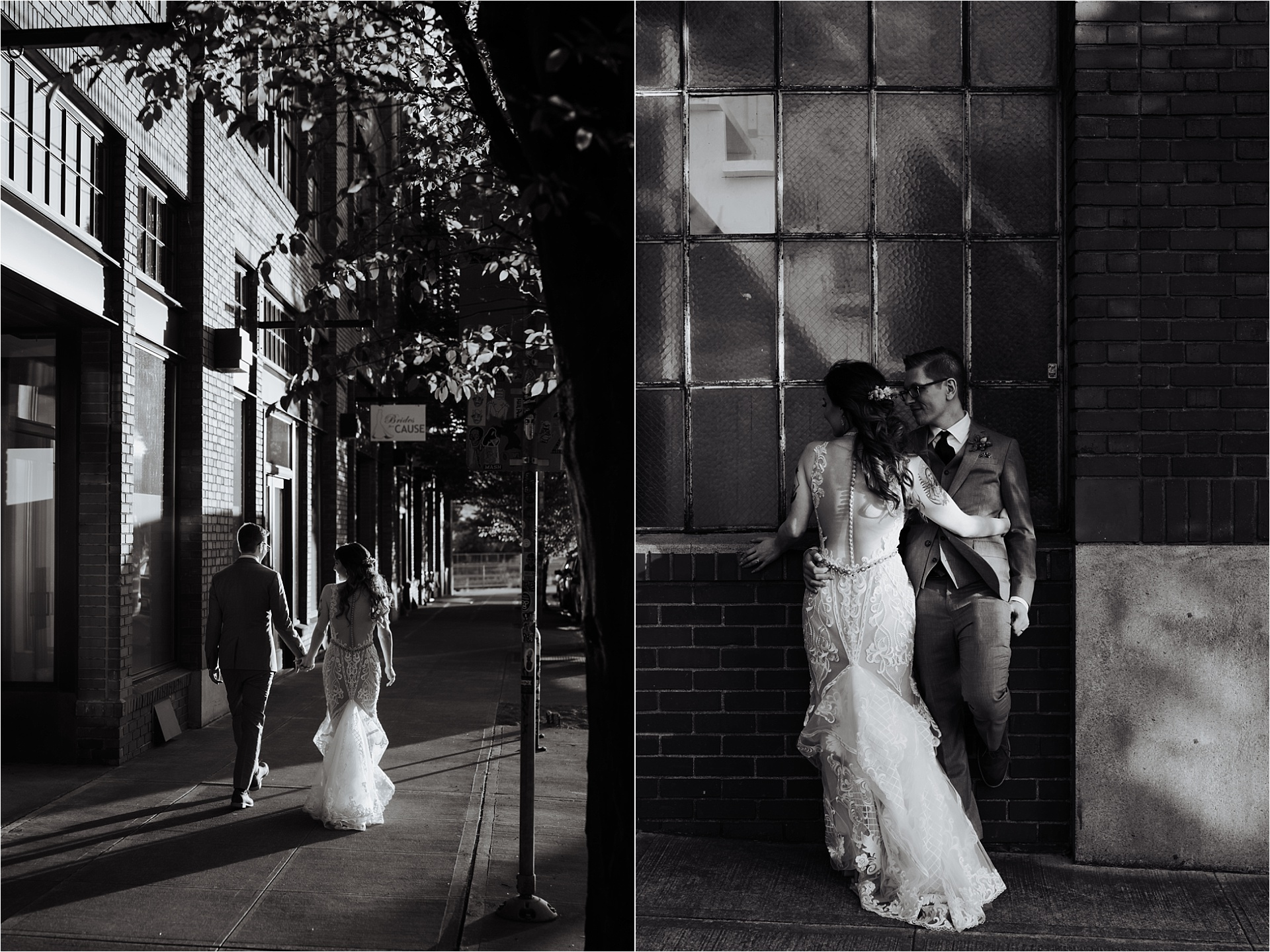 Bride and groom walking outside of the ford building during tendue wedding