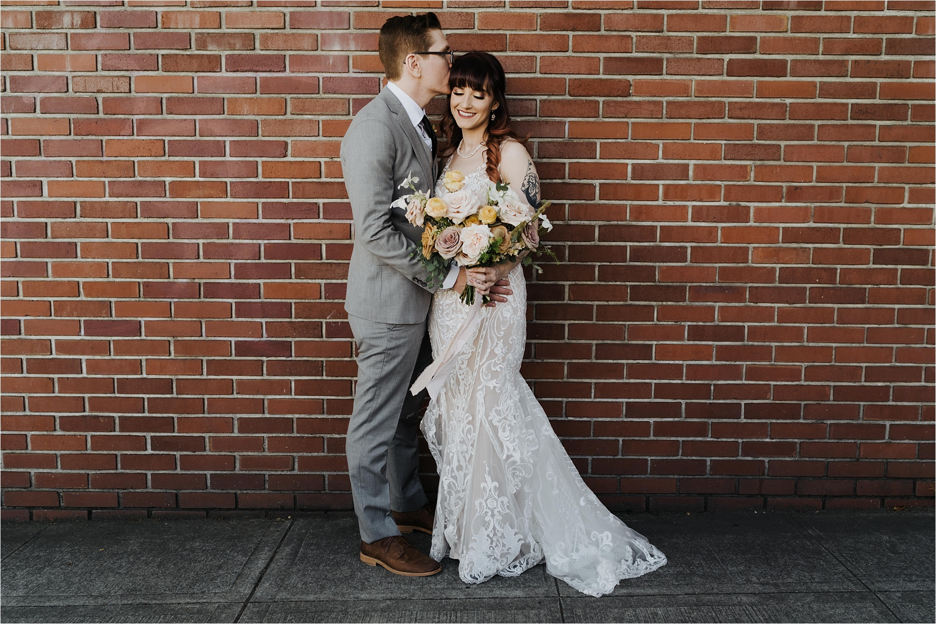 Couple does first look near ford building for their Tendue wedding