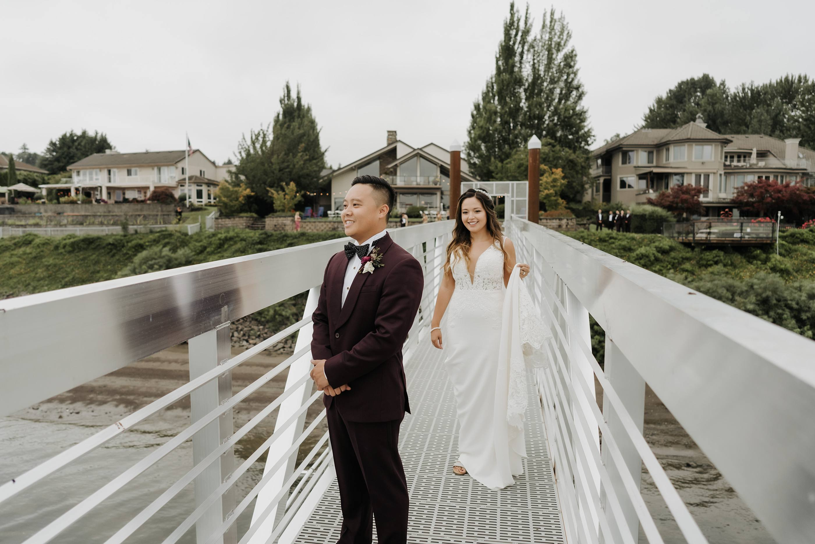 Couple about to have first look before their wedding at the oregon golf club in west linn oregon