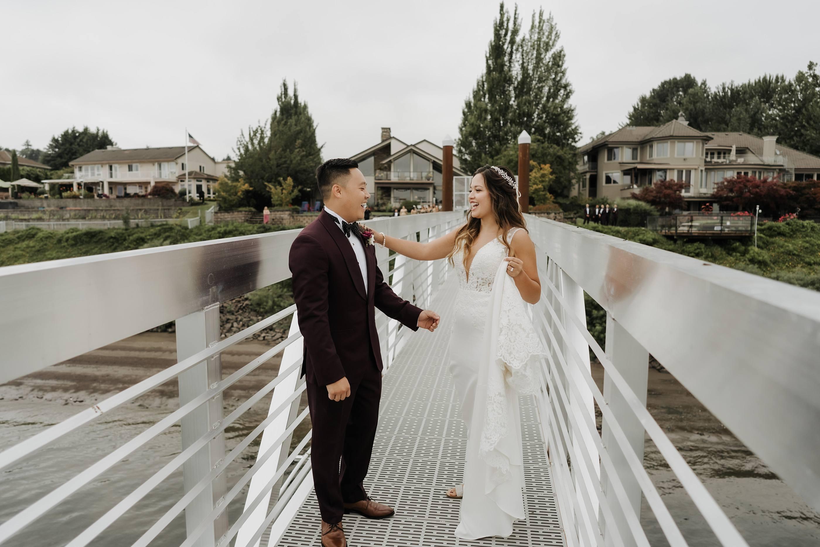 bride and groom so happy at their oregon golf club wedding