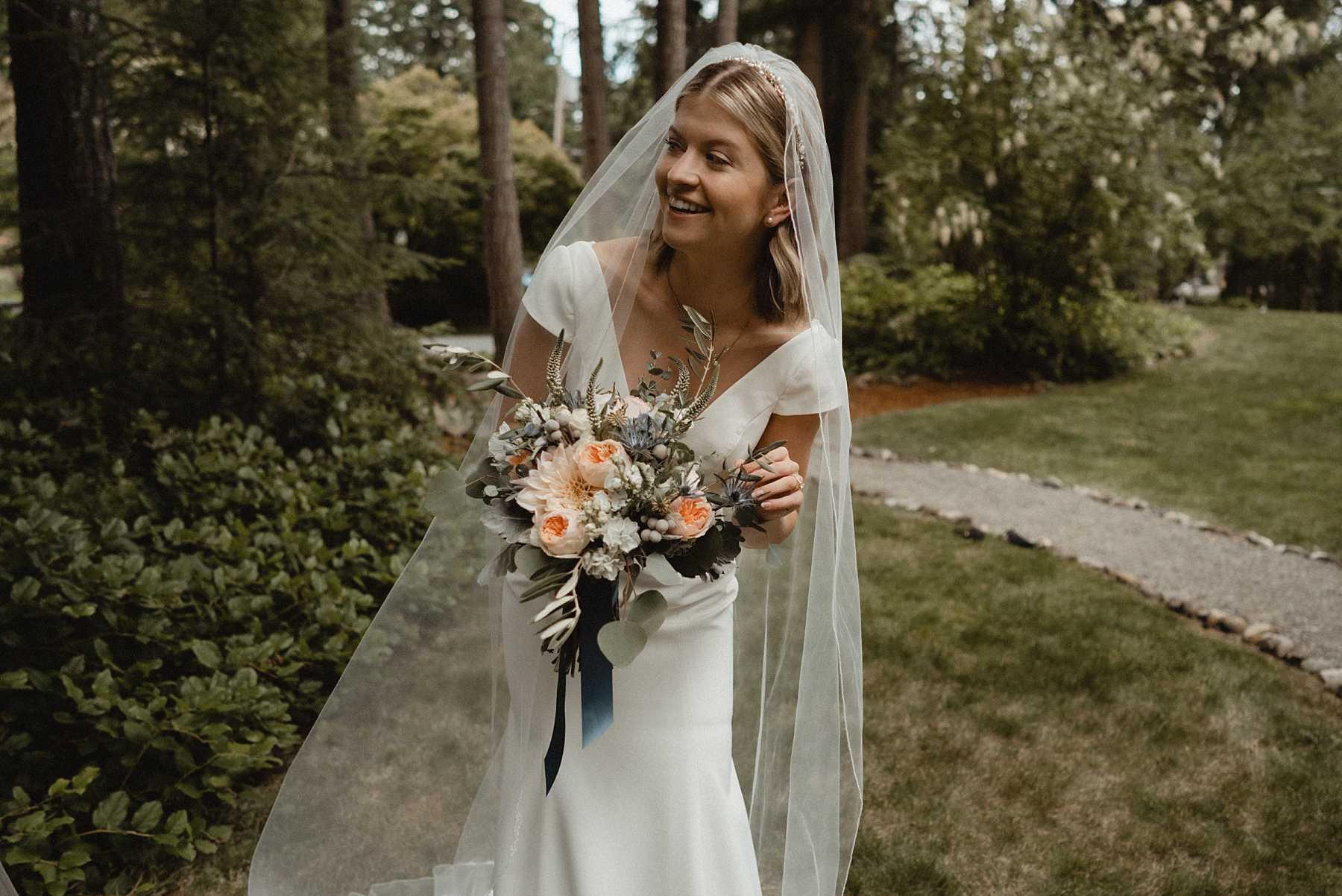Bridal Portrait during seattle backyard wedding