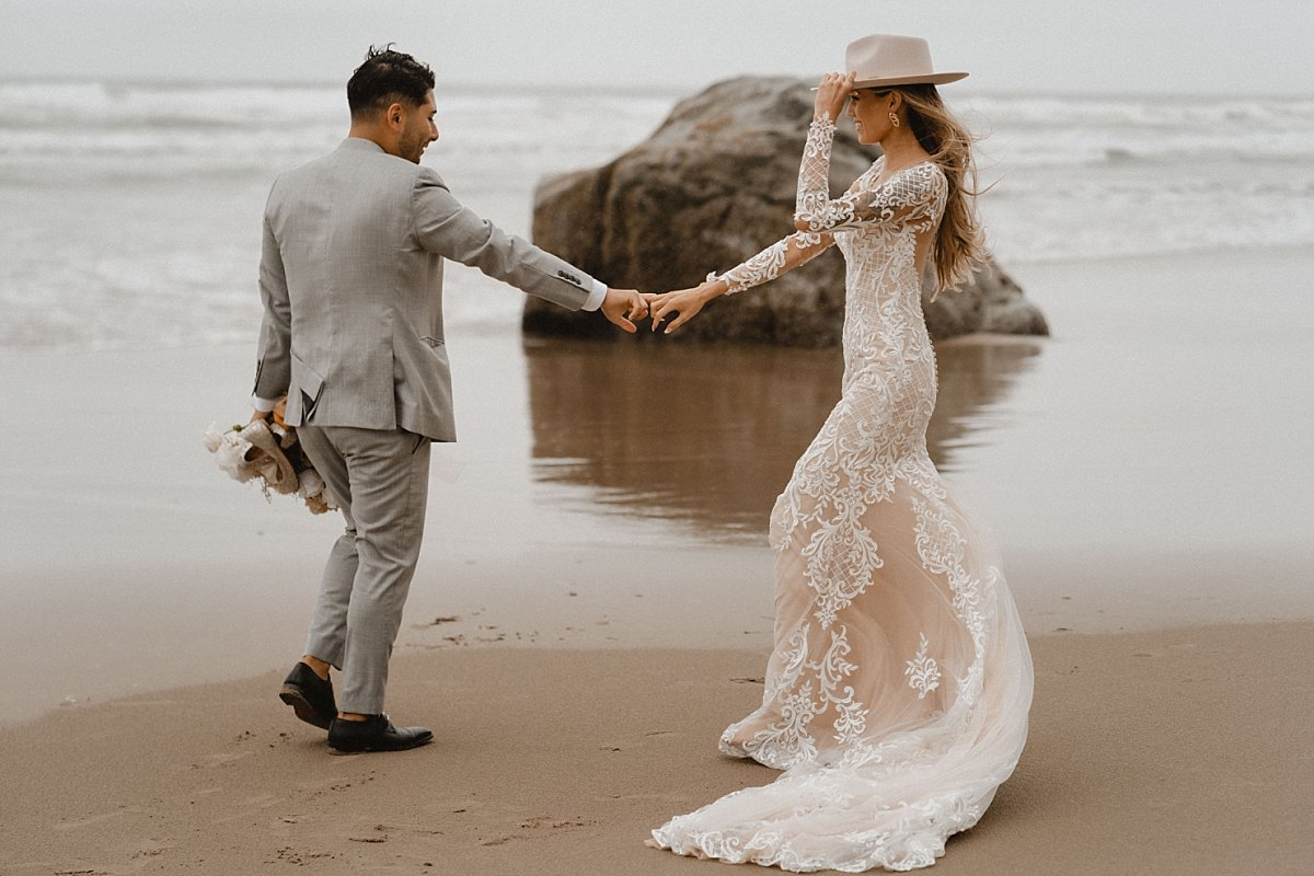 Couple dances the evening away at hug point state park elopement